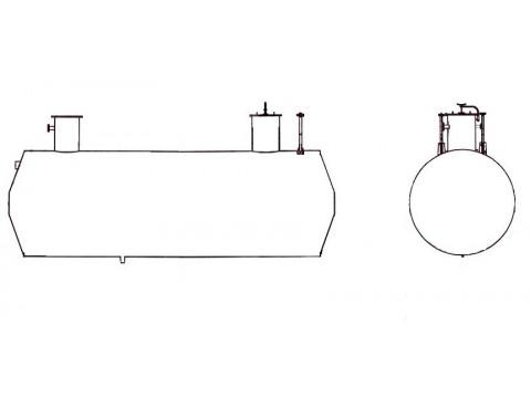Резервуар стальной горизонтальный цилиндрический подземный РГСП-63