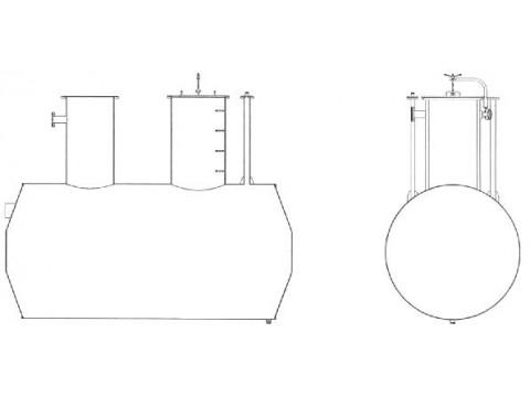 Резервуар стальной горизонтальный цилиндрический подземный РГС-12,5